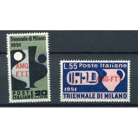"""1951 Trieste """"A"""" 9° Triennale di Milano n.124/25 mnh"""