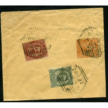 1892 ITALIA REGNO UMBERTO I° C.45 + C.20 + C.10 EMISSIONE SU FRAMMENTO  LNT530
