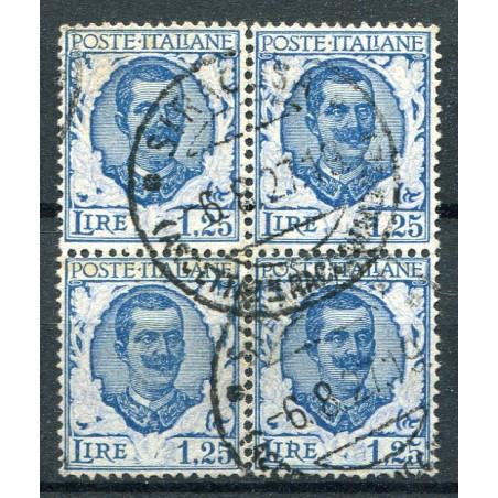 1926 Italia Vitt. Emanuele 3° tipo Floreale n.202 usato in quartina