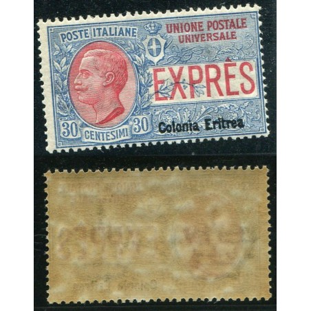 1909 ITALIA REGNO ERITREA ESPRESSO  C.30 AZZURRO E ROSSO N.2 CAT. 300 MNH LNT976