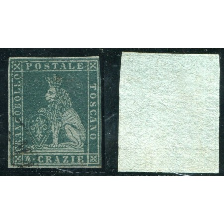 1851/52 TOSCANA 4CR. VERDE SU AZZURRO N.6B CAT. 500 ONT247