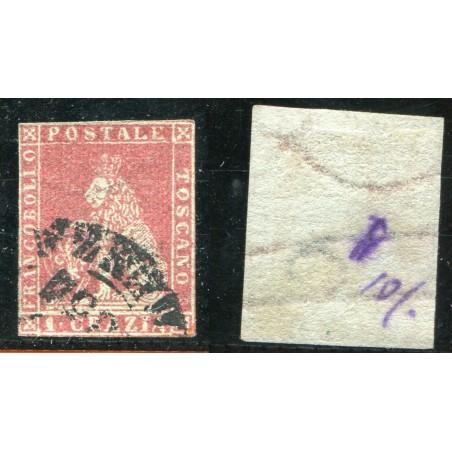 1851/52 TOSCANA 1CR. CARMINIO SU AZZURRO N.4B CAT. 500 ONT248