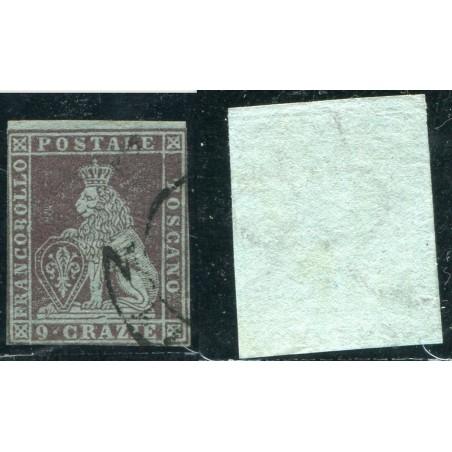 1851/52 TOSCANA 9CR. BRUNO VIOLACEO SU AZZURRO N.8B CAT. 1000 ONT251