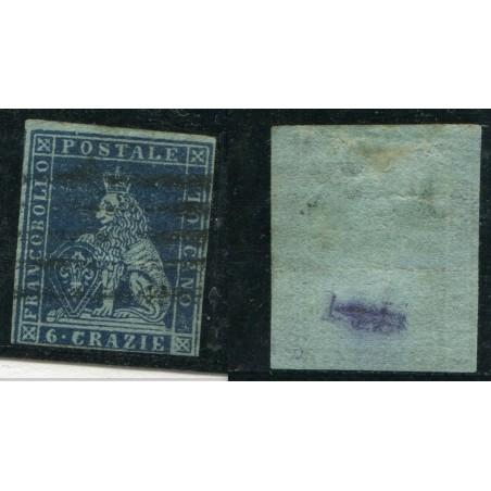 1851/52 TOSCANA 6CR AZZURRO SCURO SU AZZURRO   N.7/C CAT. 600 ONT255