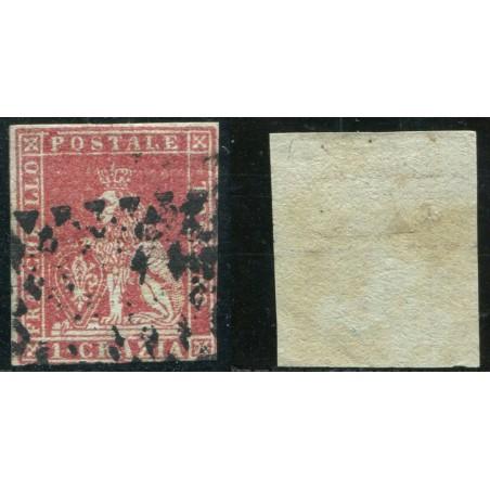 1851/52 TOSCANA 1CR. CARMINIO SU AZZURRO N.1B CAT. 500 ONT261