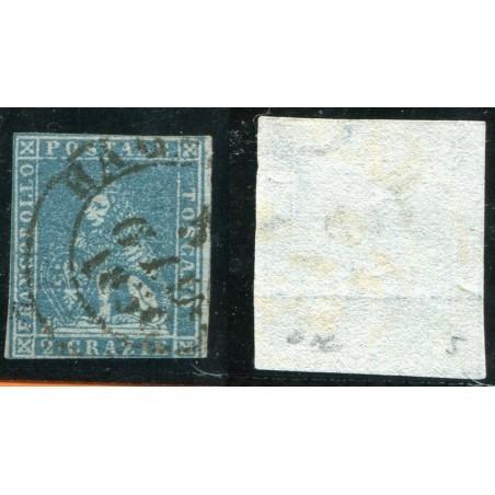 1851/52 TOSCANA 2CR. AZZURRO CHIARO SU GRIGIO N.5 CAT. 250 ONT275