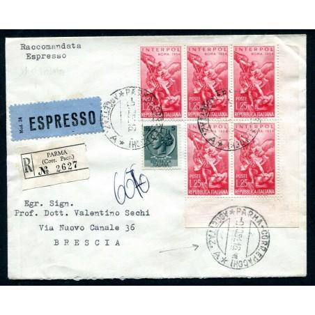 1954 ITALIA RACC. ESPRESSO 1° GIORNO D'USO CON IMPERIALE £.25X5  L829