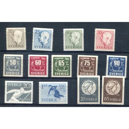 1954 Svezia piccolo lotto di francobolli mh