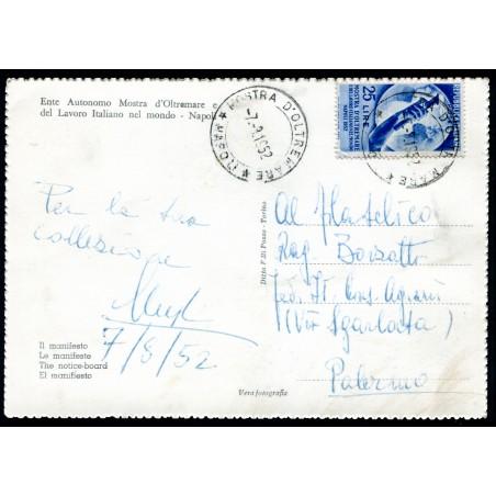1952 Mostra d'Oltremare lire 25 n.691 su cartolina Maximum della Mostra.