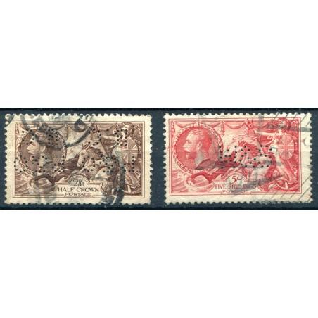 Gran Bretagna - 1913 - Allegorie 2/6 e 5sh. Bradbury n.153/b. Cat. 125, usati Perfin.
