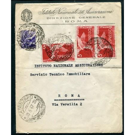 1947 ITALIA DEMOCRATICA £.5X3 + P.O. £.6 AL VERSO TARGHETTA RECAPITO    EUSA888