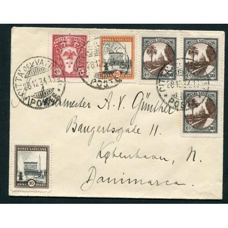 1934 VATICANO LETTERA PER LA DANIMARCA AFFRANCATA PER £.1,25   EUSA851