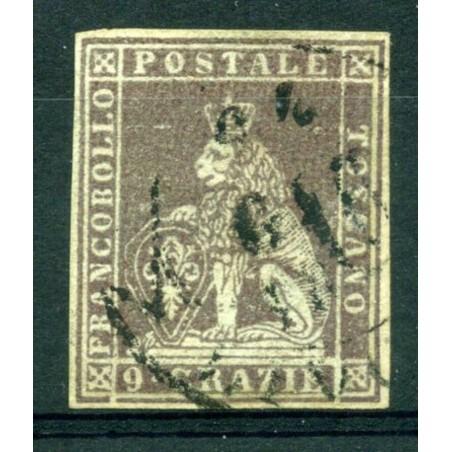 1851/52 TOSCANA CR.9 BRUNO VIOLACEO SU GRIGIO N.8 USATO   D172