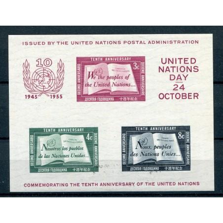 1955 ONU Nazioni Unite 10° anniversario BF n. 1 MNH PIC445