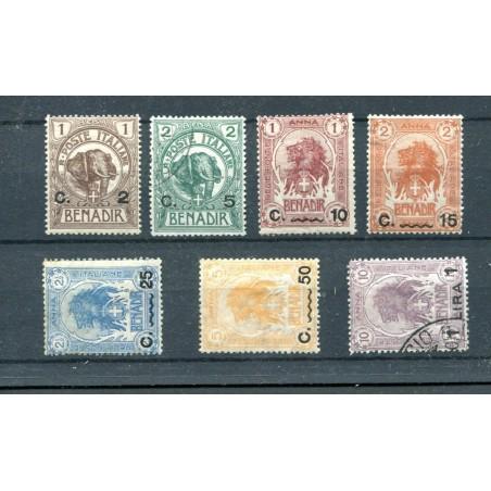 1906/07 SOMALIA SOPRASTAMPATI MONETA ITALIANA N.10/13 MH USATI CAT130 I322