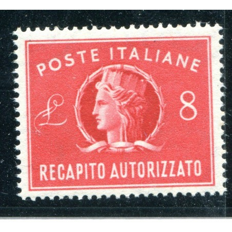 1947 ITALIA RECAPITO AUTORIZZATO £.8 ROSSO N.9 MNH FOTO DI ESEMPIO ALB018