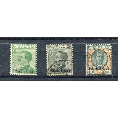 1925 Eritrea soprastampati n.93/95 usati cat. 200