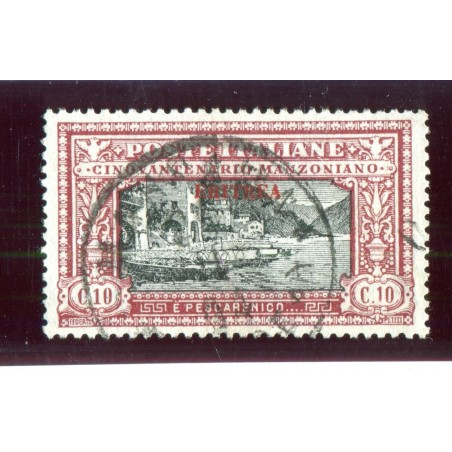 1924 ITALIA ERITREA MANZONI C.10 CAT.100   USATO MNT548